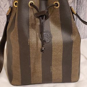 Fendi Calfskin Coated Canvas Pequin Bucket Bag